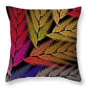 Colorful Feather Fern - Abstract - Fractal Art - Square - 2 Tr Throw Pillow