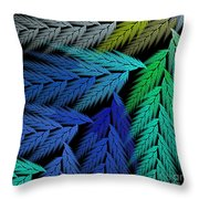 Colorful Feather Fern - Abstract - Fractal Art - Square - 3 Ll Throw Pillow