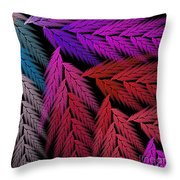 Colorful Feather Fern - Abstract - Fractal Art - Square - 4 Lr Throw Pillow