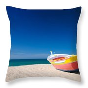 Colorful Fishing Boat Algarve Portugal Throw Pillow