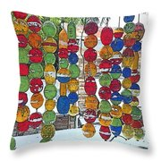 Colorful Fishing Floats Throw Pillow