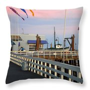 Colorful Flags And Wharf Throw Pillow by Debra Thompson
