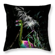 Colorful Flamingos Throw Pillow