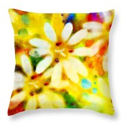 Colorful Floral Abstract - Digital Paint Throw Pillow