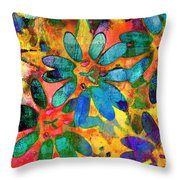 Colorful Floral Abstract IIi Throw Pillow