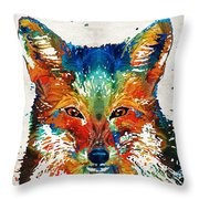 Colorful Fox Art - Foxi - By Sharon Cummings Throw Pillow