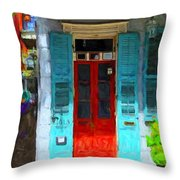 Colorful French Quarter Door  Throw Pillow