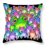 Colorful Froggy Family Throw Pillow