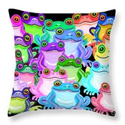 Colorful Frogs Throw Pillow