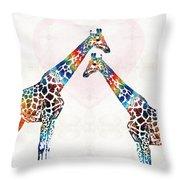 Colorful Giraffe Art - I've Got Your Back - By Sharon Cummings Throw Pillow