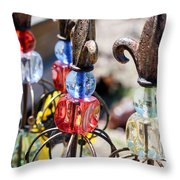 Colorful Glass And Metal Garden Ornaments Throw Pillow