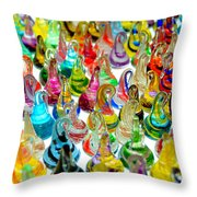 Colorful Glass Drops Throw Pillow