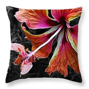 Colorful Hibiscus On Black And White 2 Throw Pillow by Kaye Menner