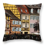 Colorful Homes Of La Petite Venise In Colmar France Throw Pillow