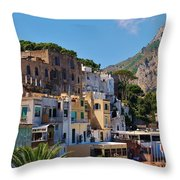 Colorful Houses In Capri Throw Pillow