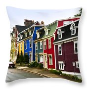 Colorful Houses In Newfoundland Throw Pillow