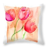 Colorful Illustration Of Red Tulips Flowers  Throw Pillow