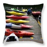 Colorful Kayaks At Whistler Bc Throw Pillow