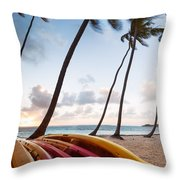 Colorful Kayaks On Beach In The Caribbean Throw Pillow