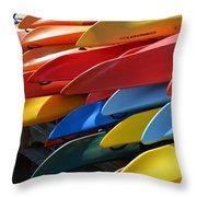 Colorful Kayaks Throw Pillow