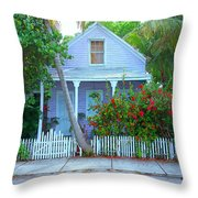 Colorful Key West Cottage Throw Pillow
