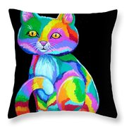 Colorful Kitten Throw Pillow