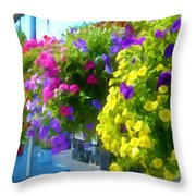 Colorful Large Hanging Flower Plants 1 Throw Pillow