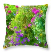 Colorful Large Hanging Flower Plants 3 Throw Pillow