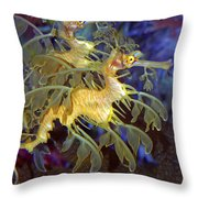 Colorful Leafy Sea Dragons Throw Pillow by Donna Proctor
