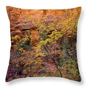Colorful Leaves On A Tree Throw Pillow