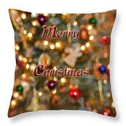 Colorful Lights Christmas Card Throw Pillow