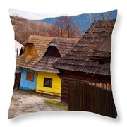 Colorful Log Homes Throw Pillow