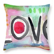 Colorful Love- Painting Throw Pillow by Linda Woods
