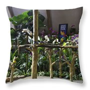 Colorful Macaws And Other Small Birds On Trees At An Exhibit Throw Pillow