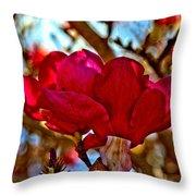 Colorful Magnolia Blossom Throw Pillow