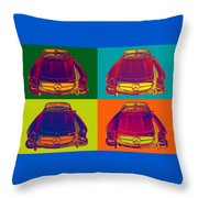 Colorful Mercedes Benz 300 Sl Convertible Popart Throw Pillow