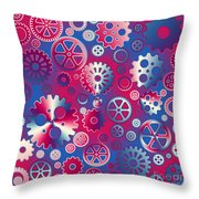 Colorful Metallic Gears Throw Pillow by Gaspar Avila