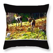 Colorful Moose Throw Pillow