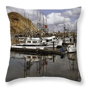 Colorful Morning Harbor Throw Pillow