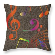 Colorful Musical Notes On Textured Background Illustration Throw Pillow