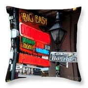 Colorful Neon Sign On Bourbon Street Corner French Quarter New Orleans Fresco Digital Art Throw Pillow
