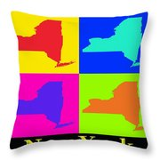 Colorful New York State Pop Art Map Throw Pillow