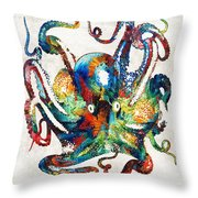 Colorful Octopus Art By Sharon Cummings Throw Pillow
