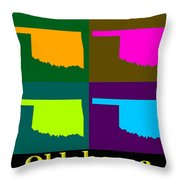 Colorful Oklahoma State Pop Art Map Throw Pillow