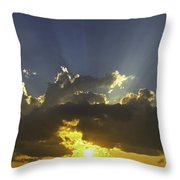 Colorful Orange Yellow Clouds At Sunset Panorama Fine Art Print Throw Pillow
