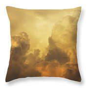 Colorful Orange Yellow Storm Clouds At Sunset  Throw Pillow