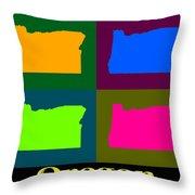 Colorful Oregon Pop Art Map Throw Pillow