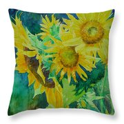 Colorful Original Sunflowers Flower Garden Art Artist K. Joann Russell Throw Pillow