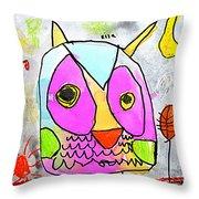 colorful Owl Throw Pillow