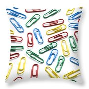 Colorful Paperclips On White Throw Pillow